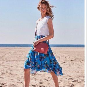 NWT Calvin Klein Blue floral midi wrap front skirt